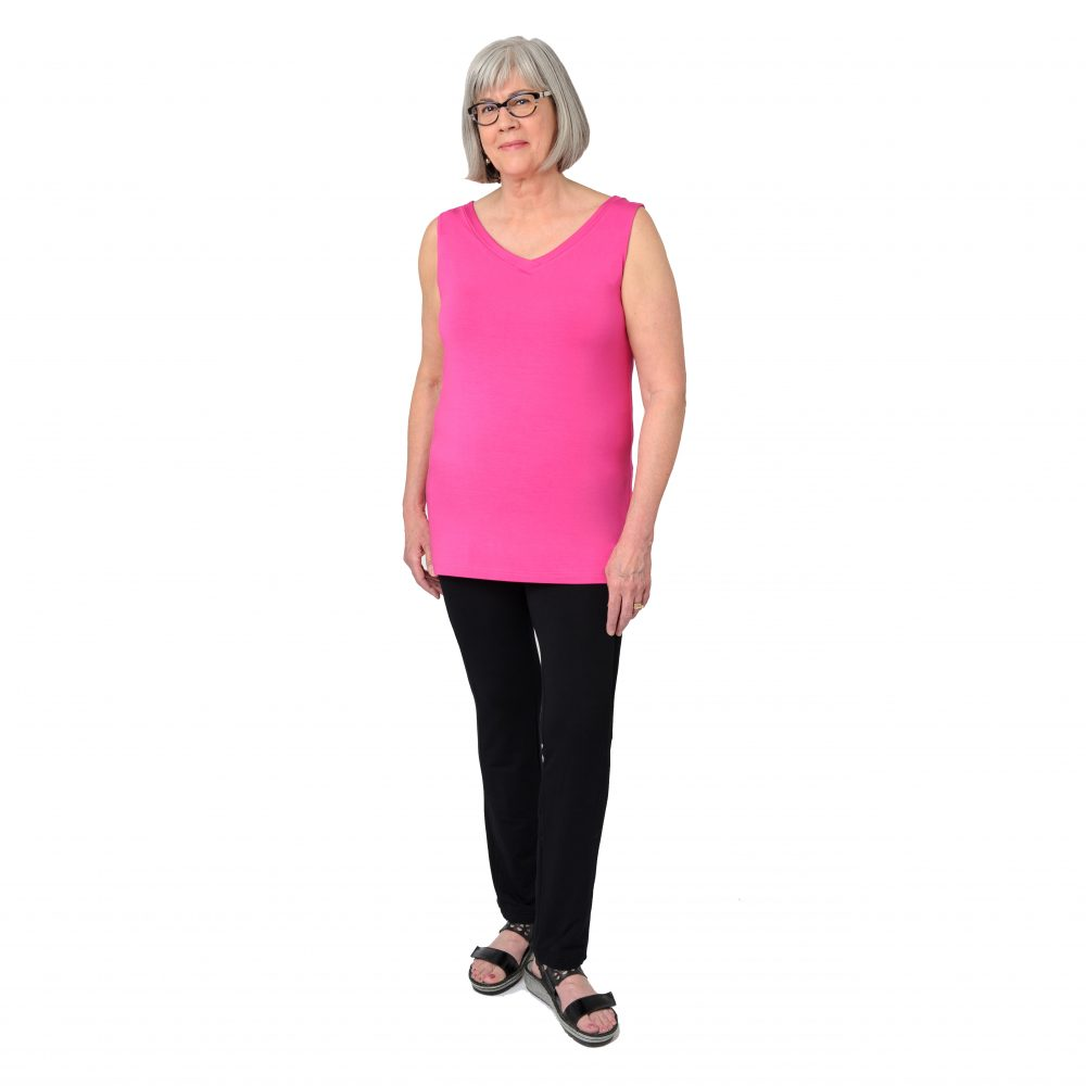 Maxine Reversible Tunic in Fiery Fuchsia V-neck in Front
