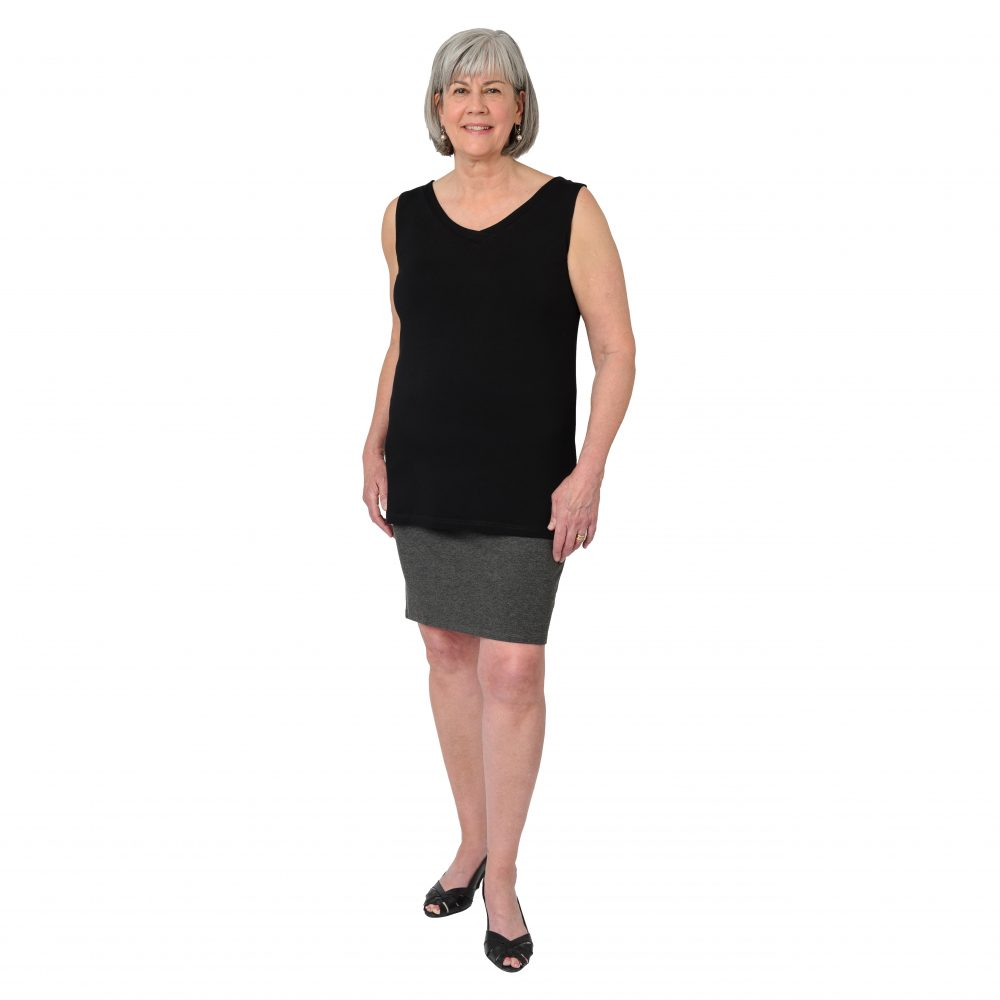 Maxine Reversible Tunic in Midnight Black V-neck in Front