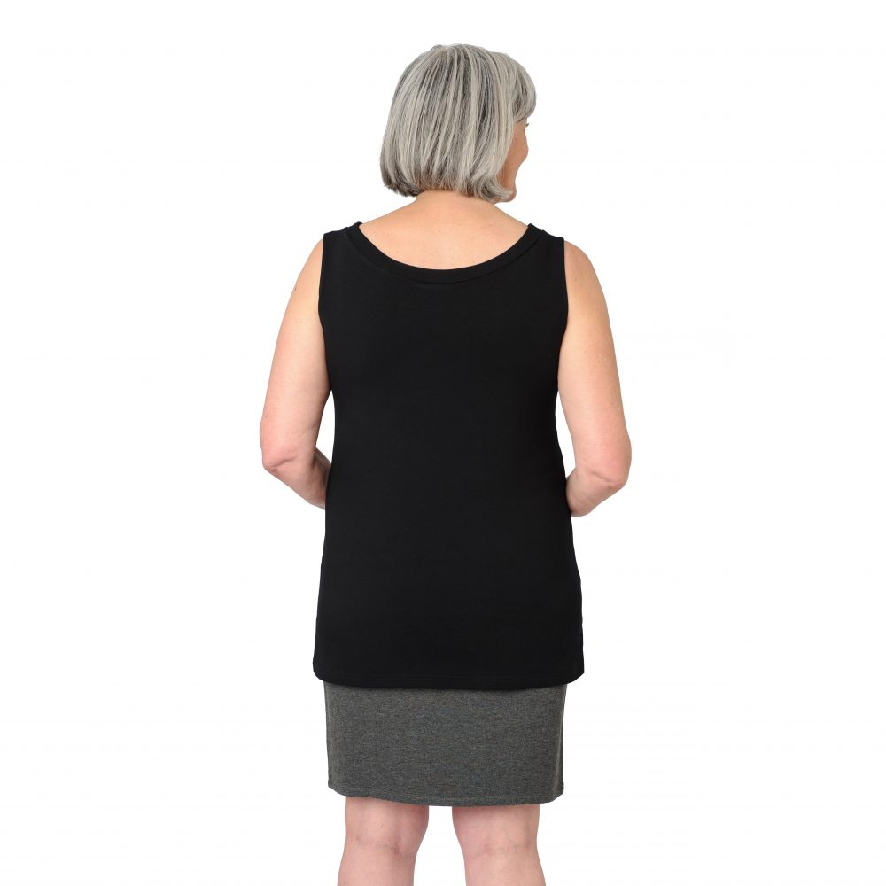 Maxine Reversible Tunic in Midnight Black Boatneck in Back