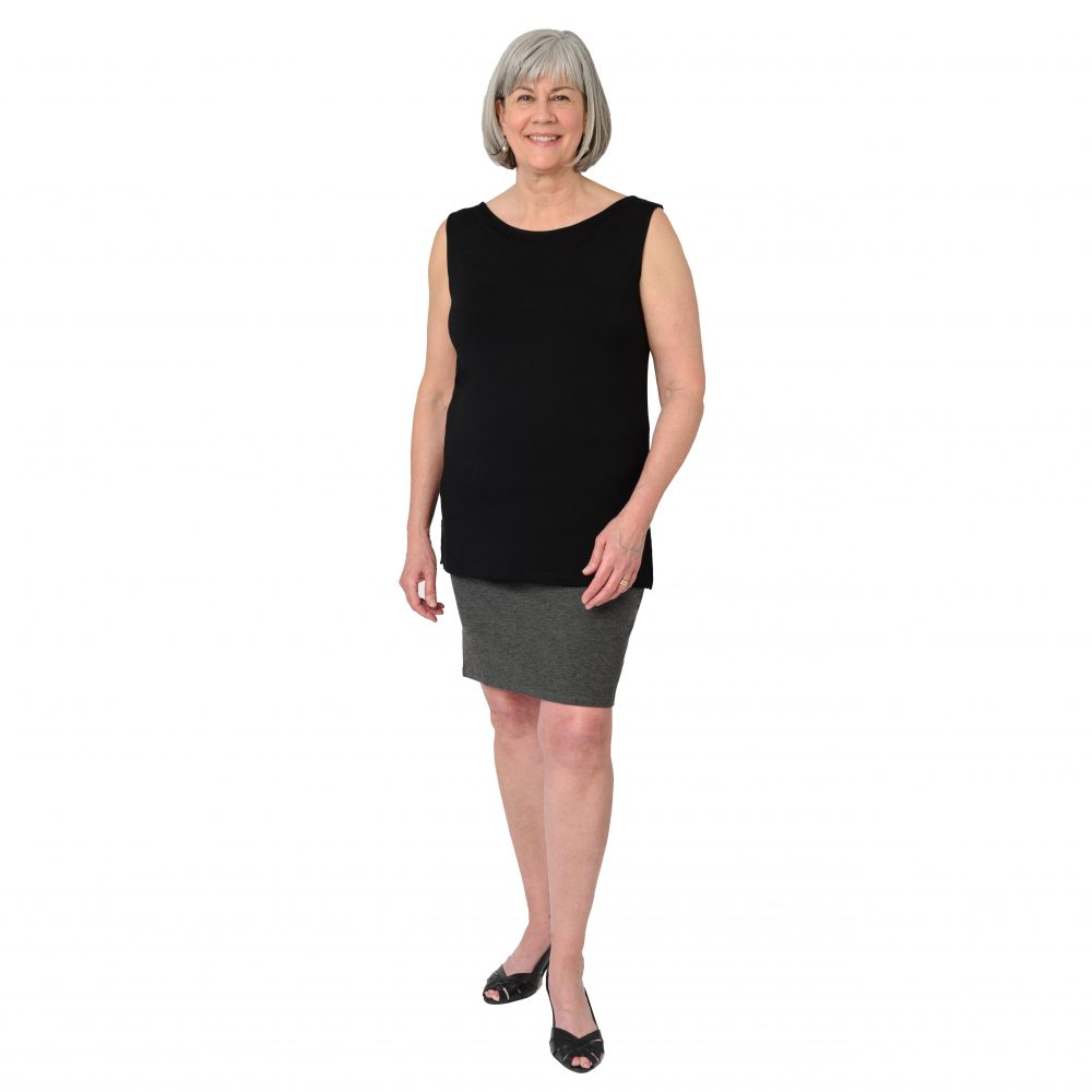 Maxine Reversible Tunic in Midnight Black Boatneck in Front