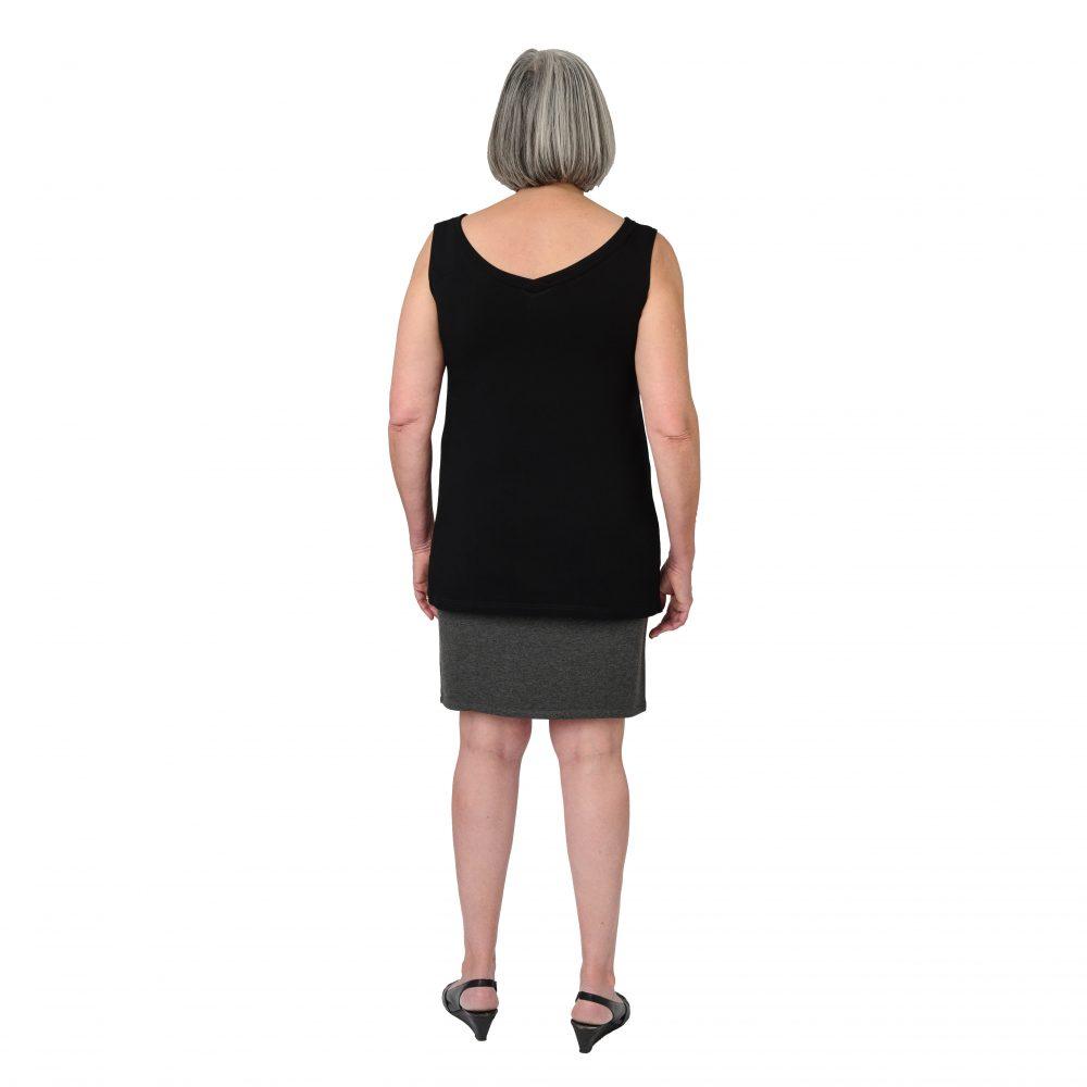 Maxine Reversible Tunic in Midnight Black V-neck in Back