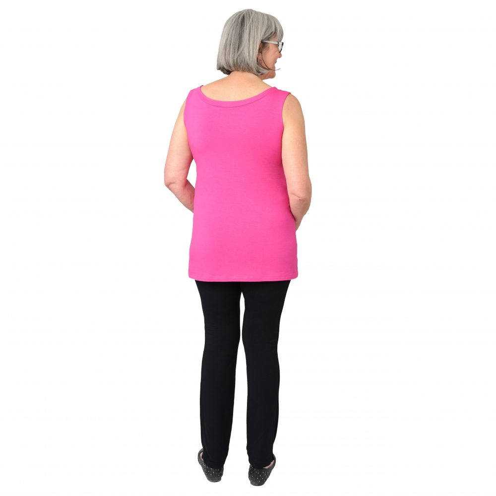 Maxine Reversible Tunic in Fiery Fuchsia Boatneck in Back
