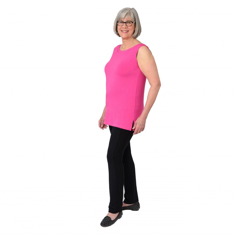 Maxine Reversible Tunic in Fiery Fuchsia Boatneck in Front