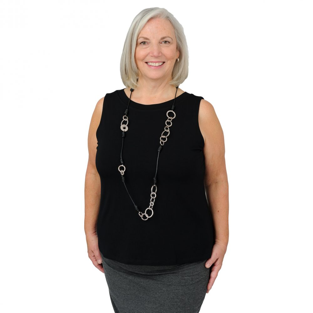 Maxine Tank - Midnight Black - Round Neck in Front