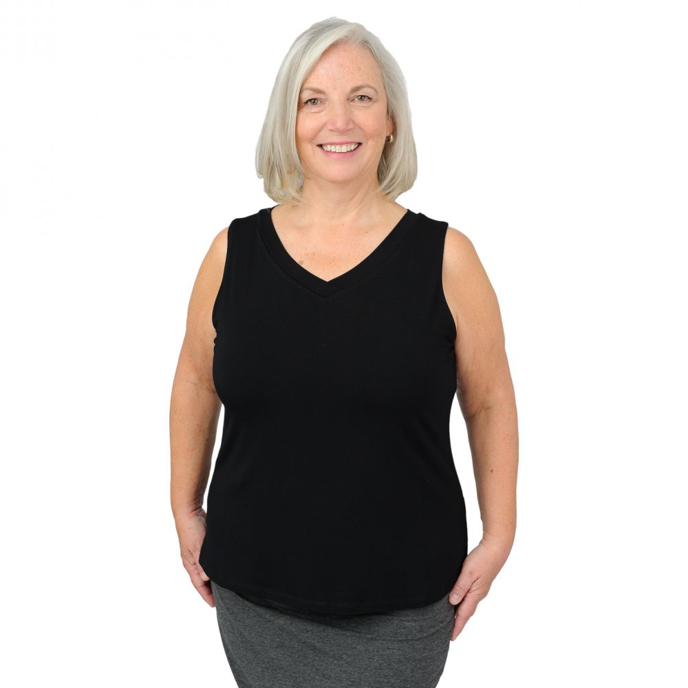 Maxine Tank - Midnight Black - V Neck in Front