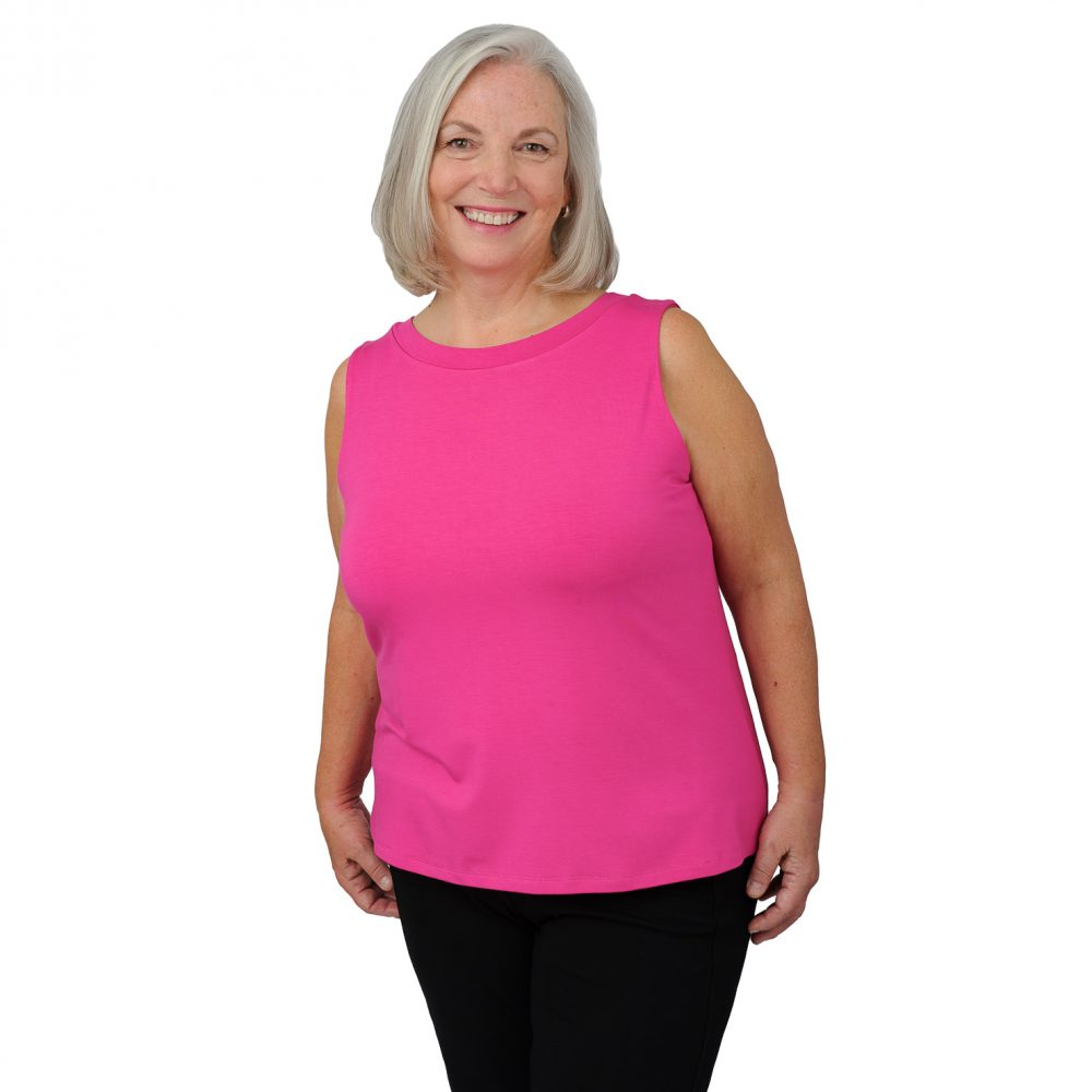 Maxine Tank - Fiery Fuchsia - Round Neck in Front