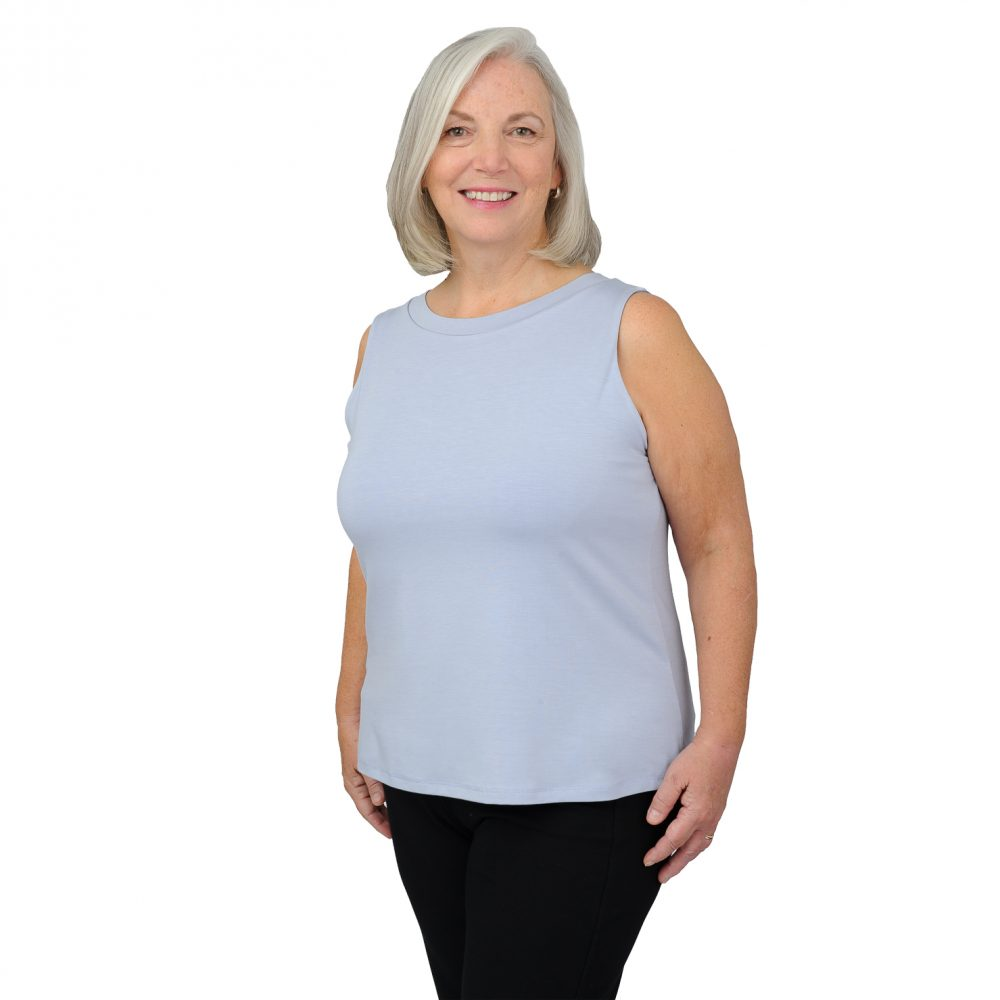 Maxine Tank - Silky Blue - Round Neck in Front