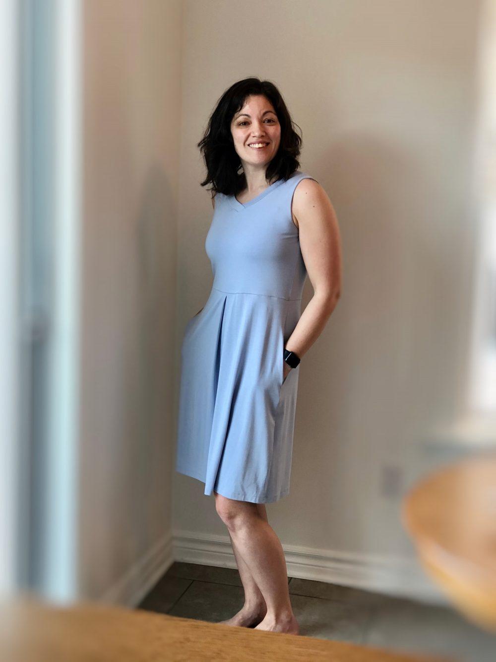 Carolyn Reversible Sundress in Silky Blue, V-Neck in Front