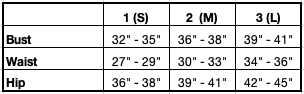 Size Chart for Carolyn Reversible Pleated Sundress