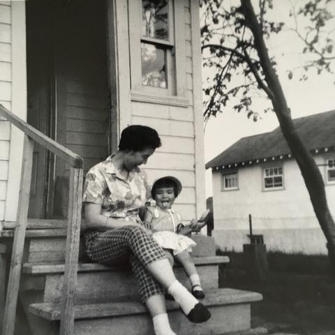 Our This Is Us Story: Episode 5 - Life Comes Full Circle, Mom and me on our back step near the garden