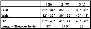 Anna Sheath Dress Size Chart