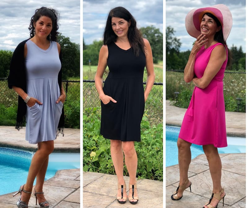 Mary Elin in Silky Blue Carolyn dress with a black shawl on the left, in the middle in Midnight Black and on the right, in Fiery Fuchsia with a wide brimmed sun hat