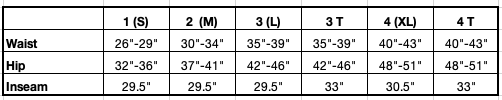Lynne Pant Size Chart in Inches