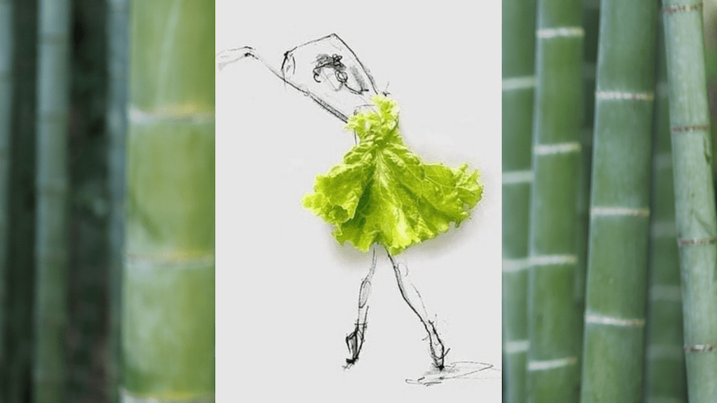 Do you really care about sustainability? by Colleen Kanna, Photo of bamboo trees by kazuend on Unsplash and sketch of graceful lady in green lettuce dress
