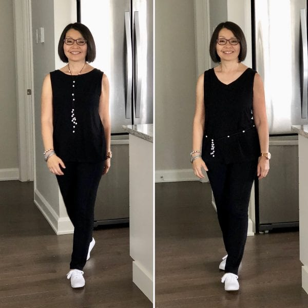 Colleen is wearing the Maxine reversible tank, round neck on the R and V-neck on the L overtop the Lynne bamboo leggings all in black with white sneakers and a pearl rope necklace on the R and worn as a belt on the L