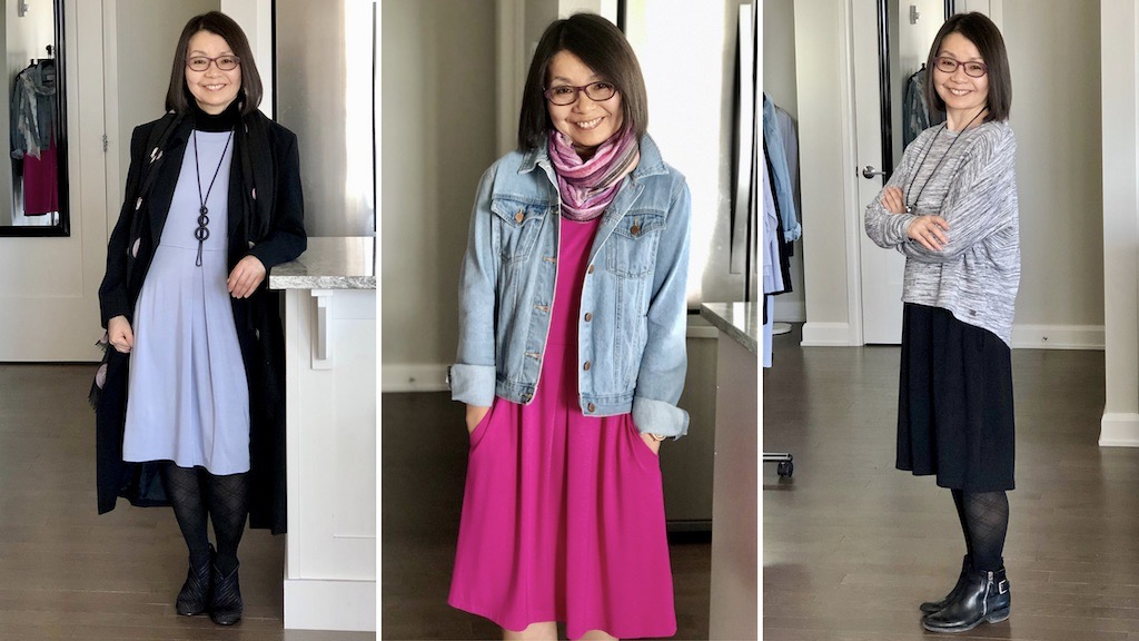 How to wear the Carolyn bamboo dress by Colleen Kanna, On the left, silky blue Carolyn with black turtleneck, tights, shoes and pendant necklace and black coat overtop; In the middle, fiery fuchsia Carolyn with jean jacket overtop and multi-coloured scarf; On the right, a casual knit top over the midnight black Carolyn with black tights and ankle boots