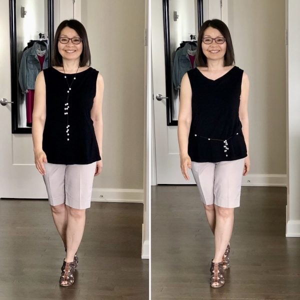 Colleen in the Maxine Reversible Tank in black with beige shorts, on the left round neck in front and on the right, V in front