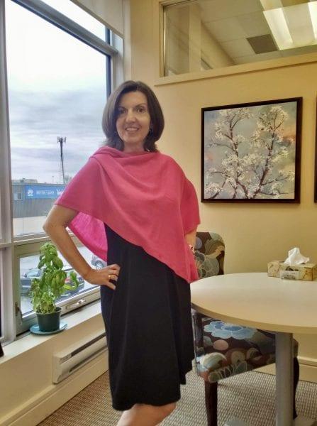 How to wear the Carolyn bamboo dress, Raquel in the midnight black Carolyn with a fuchsia shawl
