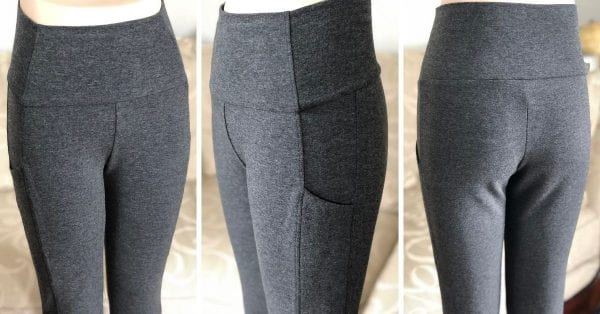 Charcoal grey bamboo phone pocket pants, Front view on left, side view in the middle, and back view on the right