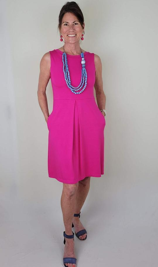 Guess Who's Carrying the Carolyn Bamboo Dress? by Colleen Kanna, Carolyn dress in fiery fuchsia