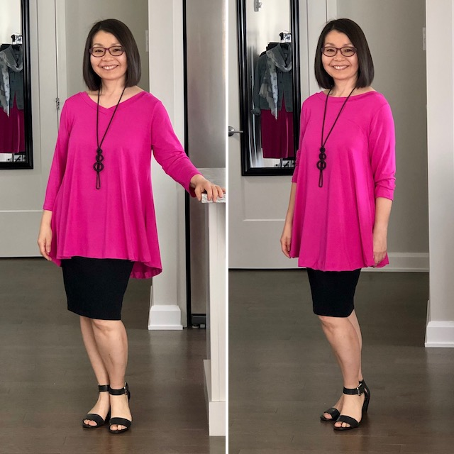 Looking for a Size 3(L) COKANNA Kanbassador by Colleen Kanna, Photo of swing top, V in front on the left, and round neck in front on the right