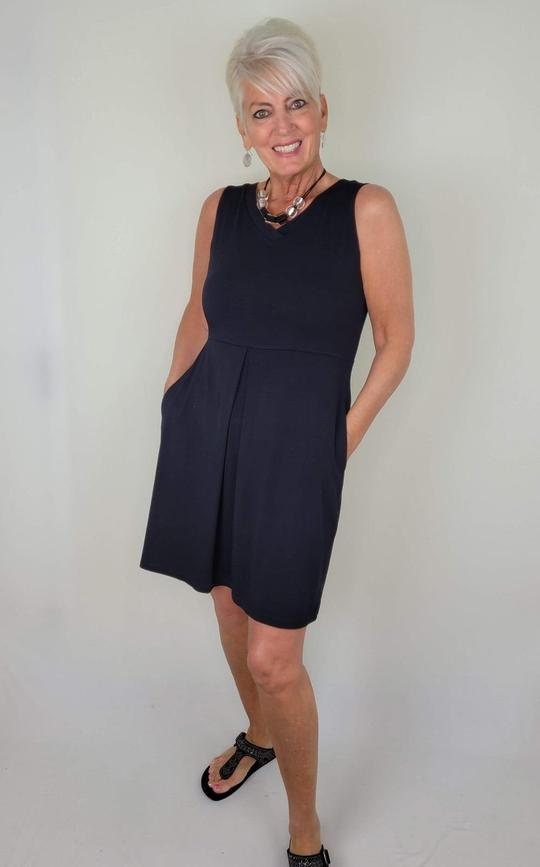 Guess Who's Carrying the Carolyn Bamboo Dress? by Colleen Kanna, Helen of Three Wild Women in the Carolyn dress in Midnight Black