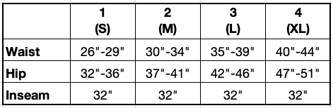 Size chart in Inches for the Joan Bamboo Trouser