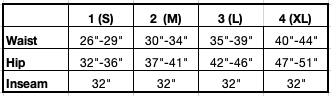Size Chart for Phone Pocket Pant