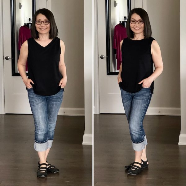 Black bamboo tank with jeans. V neck on the left and round neck on the right.