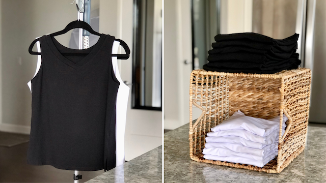 The black + white bamboo tanks have arrived