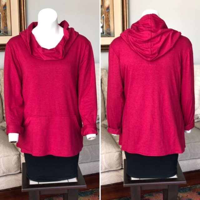 Introducing the Pamela Bamboo Hoodie by Colleen Kanna, Photo of Pamela hoodie in raspberry on mannequin, front and back view