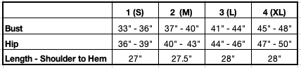 Size Chart for Pamela Hoodie