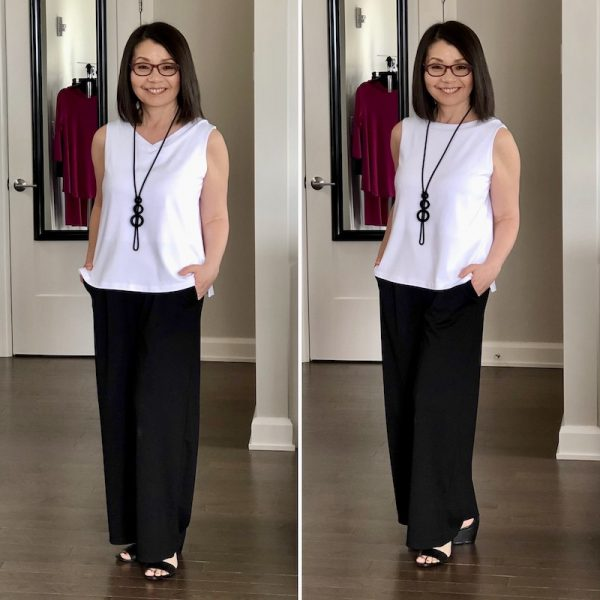 White bamboo tank with wide leg black pants. V neck on the left and scoop neck on the right.