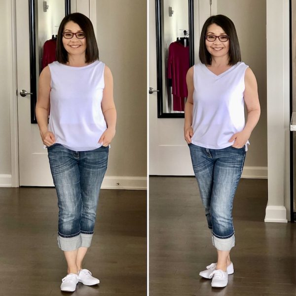 White Maxine tank with jean and sneakers. Scoop neck on the left and V neck on the right.