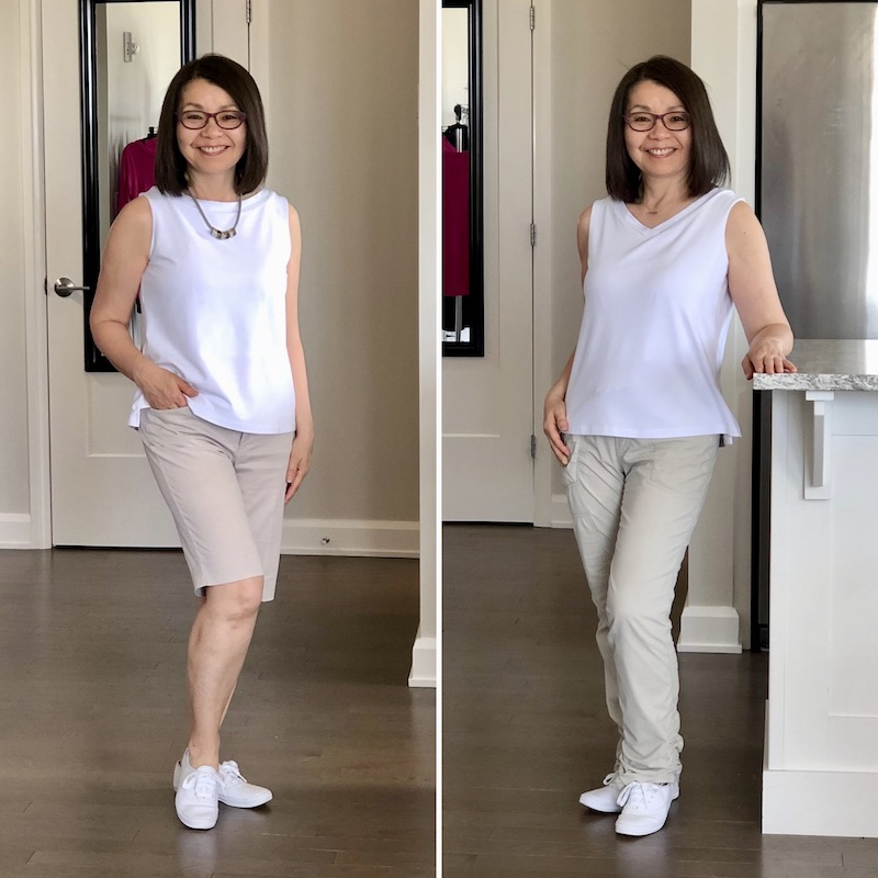 White bamboo tank with tan shorts and pants. Round neck on the left and V neck on the right.