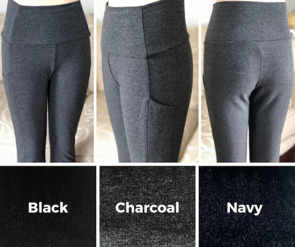 Update on the Joy bamboo pocket pant; 3 colours black, charcoal & navy