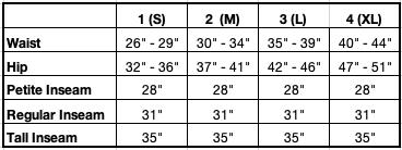 Size Chart for Joy Pocket Pant