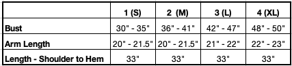 Size Chart for Linsday Cardi-robe