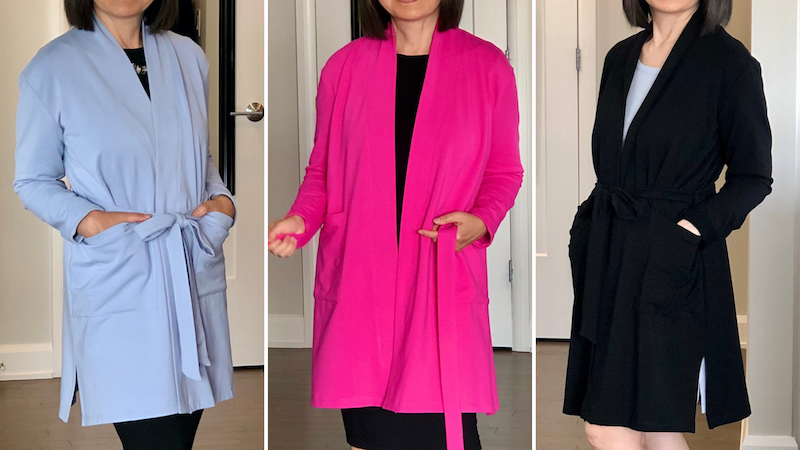 Lindsay Bamboo Cardi-robes have arrived by Colleen Kanna, Silky Blue, Fiery Fuchsia, Midnight Black