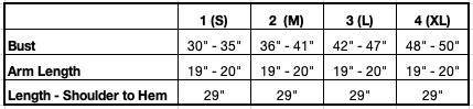 Size Chart for Petite Lindsay Bamboo Cardi-robe